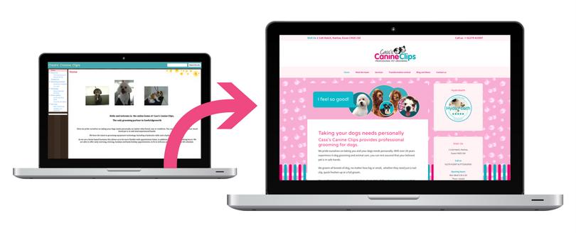 Website design revamp, before and after