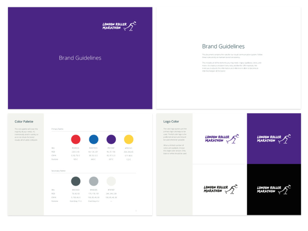 London Roller Marathon -Pages from the brand guidelines.