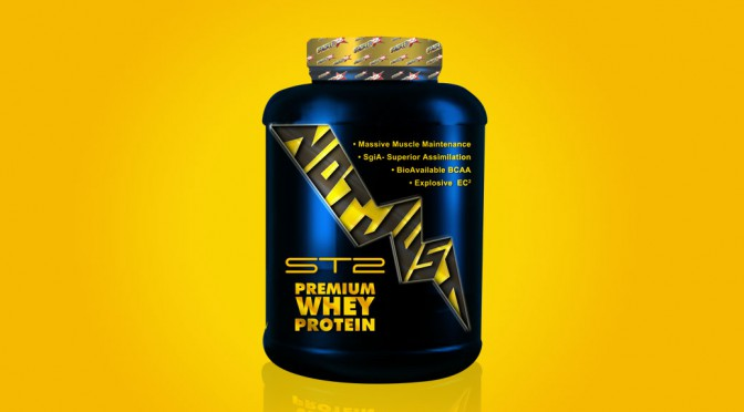 Premium whey protein package design.